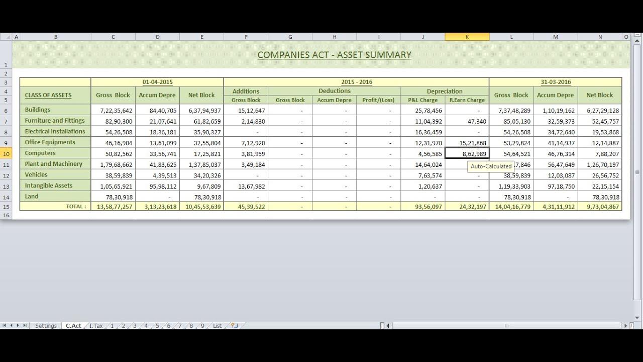 depreciation calculator companies act 2013 income tax act youtube