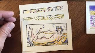 Erotica 1921 Art Deco lot x 10 pochoir prints Nudes embrace recline