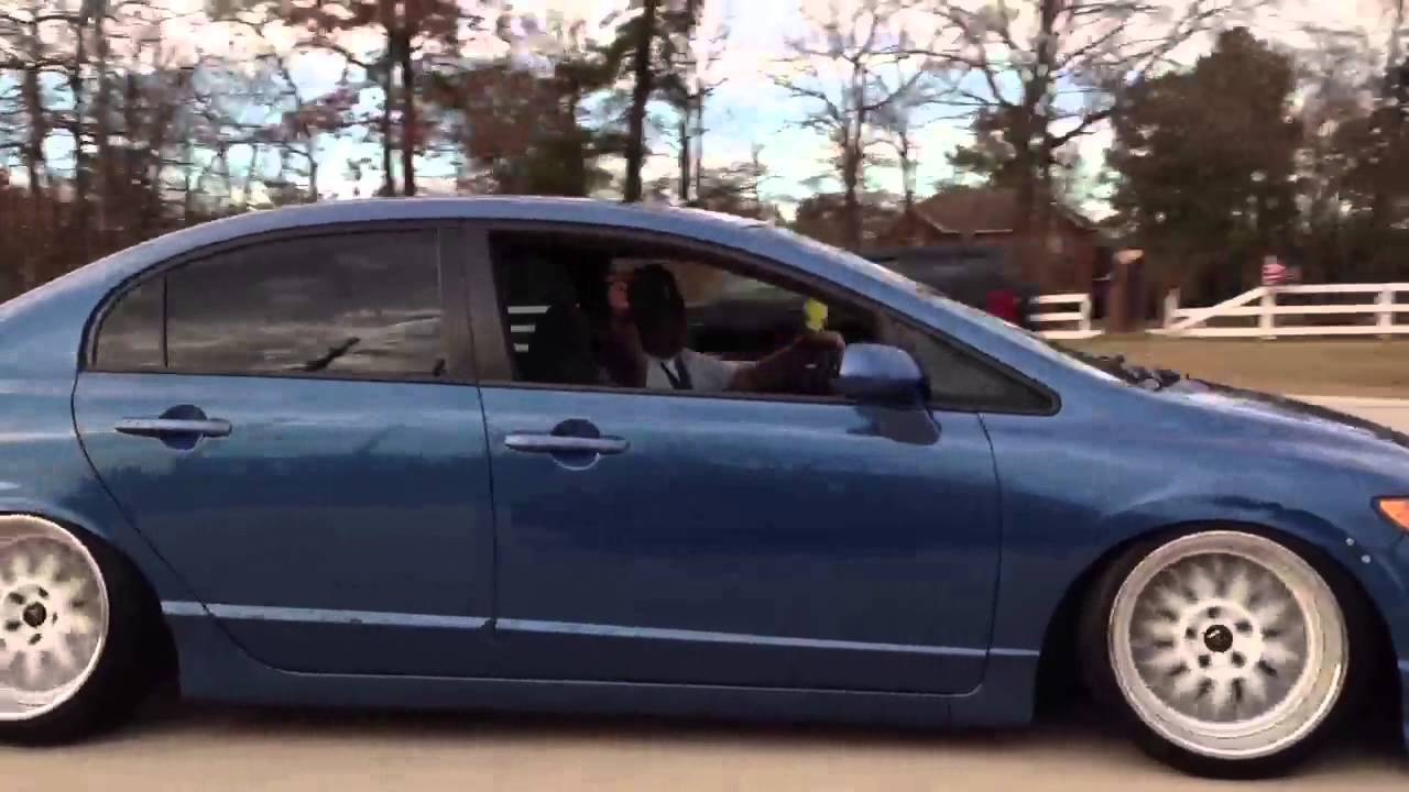 Slammed 8th gen civic rolling 4 door - YouTube