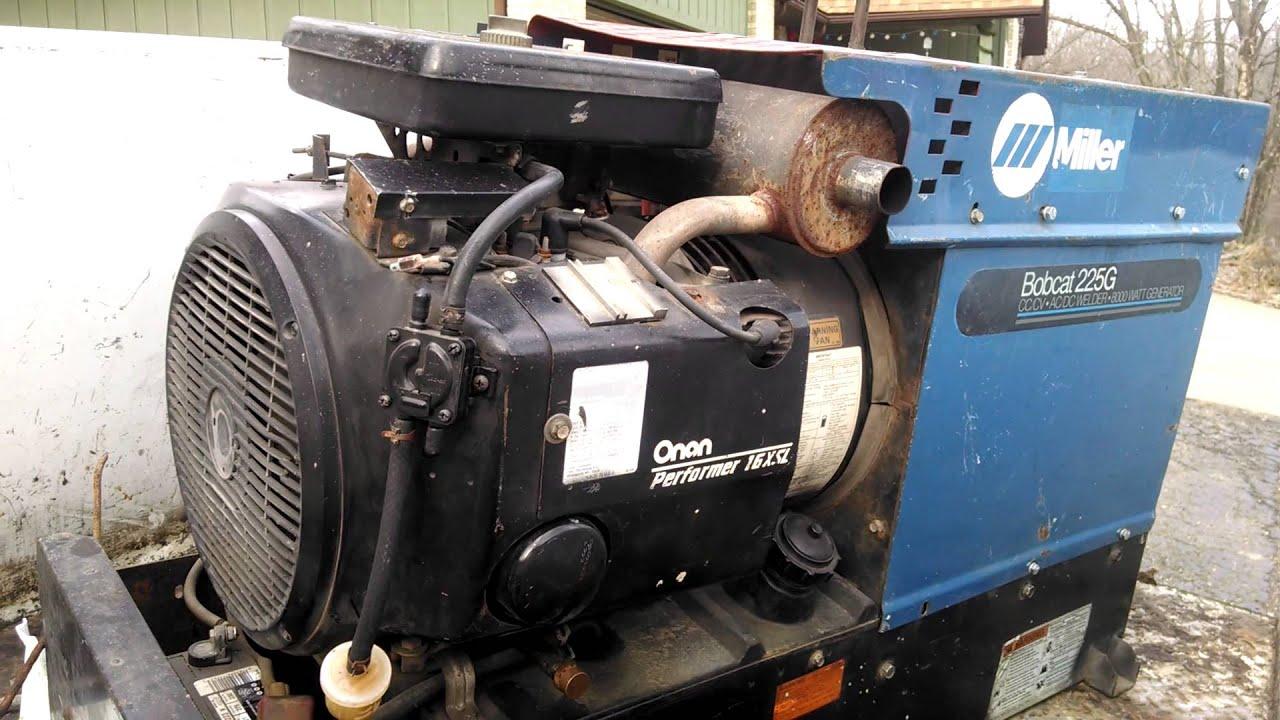 miller bobcat 225g welder 8000kw generator onan 16 hp [ 1280 x 720 Pixel ]