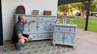 Refinishing an old dresser into a lovely Grey Dresser Set | Home Projects | DIY | Furniture Makeover