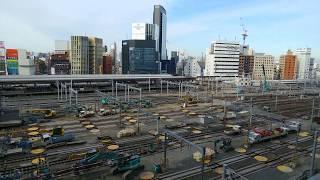 リニア中央新幹線の工事に備えるためのJR名古屋駅構内の在来線ホームの撤去作業工事   2020.1.11