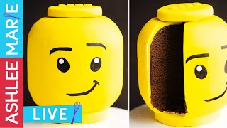 LEGO head cake - cake decorating tutorial - LIVE