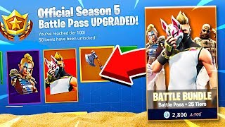 SEASON 5 BATTLE PASS ALL 100 TIERS UNLOCKED! Fortnite Battle Royale!