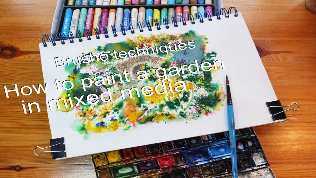Brusho Techniques Mixed Media Tutorial How To Paint A Garden