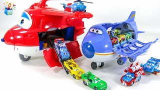 Learning Color Disney Cars Lightning McQueen SuperWings Transformation airport play video for kids