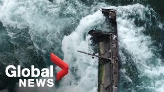 Iron scow shifts for first time in a century above Niagara Falls