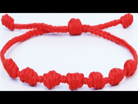 Friendship Bracelets With String Kabbalah Red Lucky Bracelet Amulet 7 Knots Macrame Nudo Franciscano