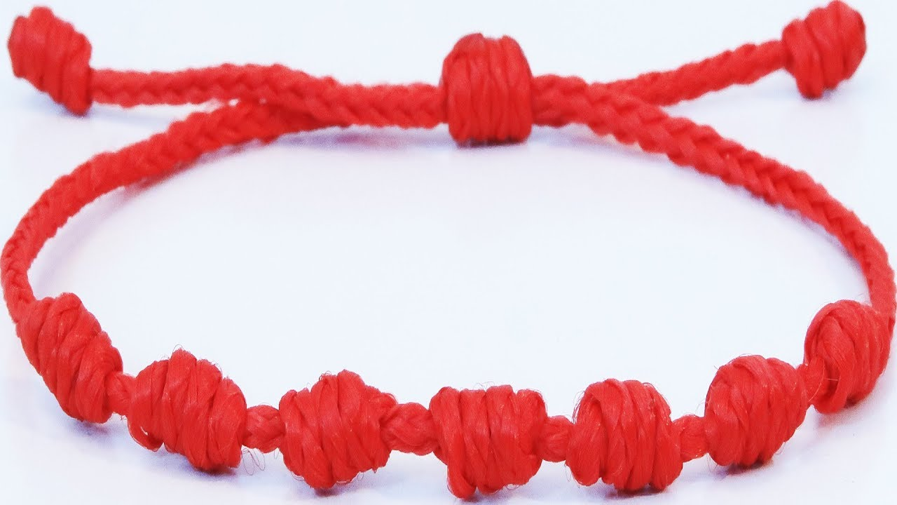 DIY kabbalah red string bracelet Amulet 7 Knots Protection in 10 minutes  step to step