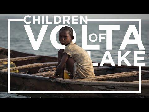 Slave children of fishing boats on Lake Volta