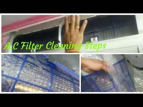 AC Filter Cleaning Steps at Home||How to Remove Air Filter and Clean Easily