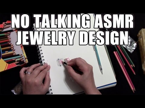 No Talking ASMR Drawing and Coloring Jewelry Designs with Gemstones