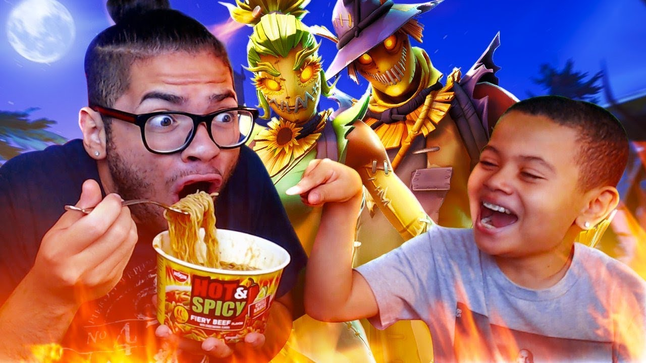 1-kill-extreme-spicy-noodle-challenge-with-no-water-almost-died-10-year-old-brother-fortnite