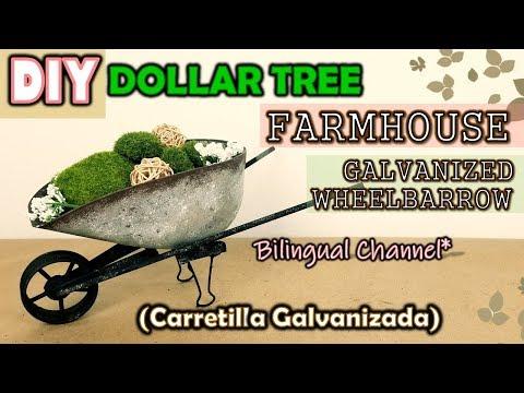 Dollar Tree DIY FARMHOUSE DECOR   GALVANIZED WHEELBARROW   English CC   Carretilla Galvanizada