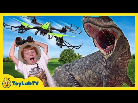Giant Dinosaur & Drone Attack! T-Rex Chase with Nerf & Jurassic World Toys for Kids