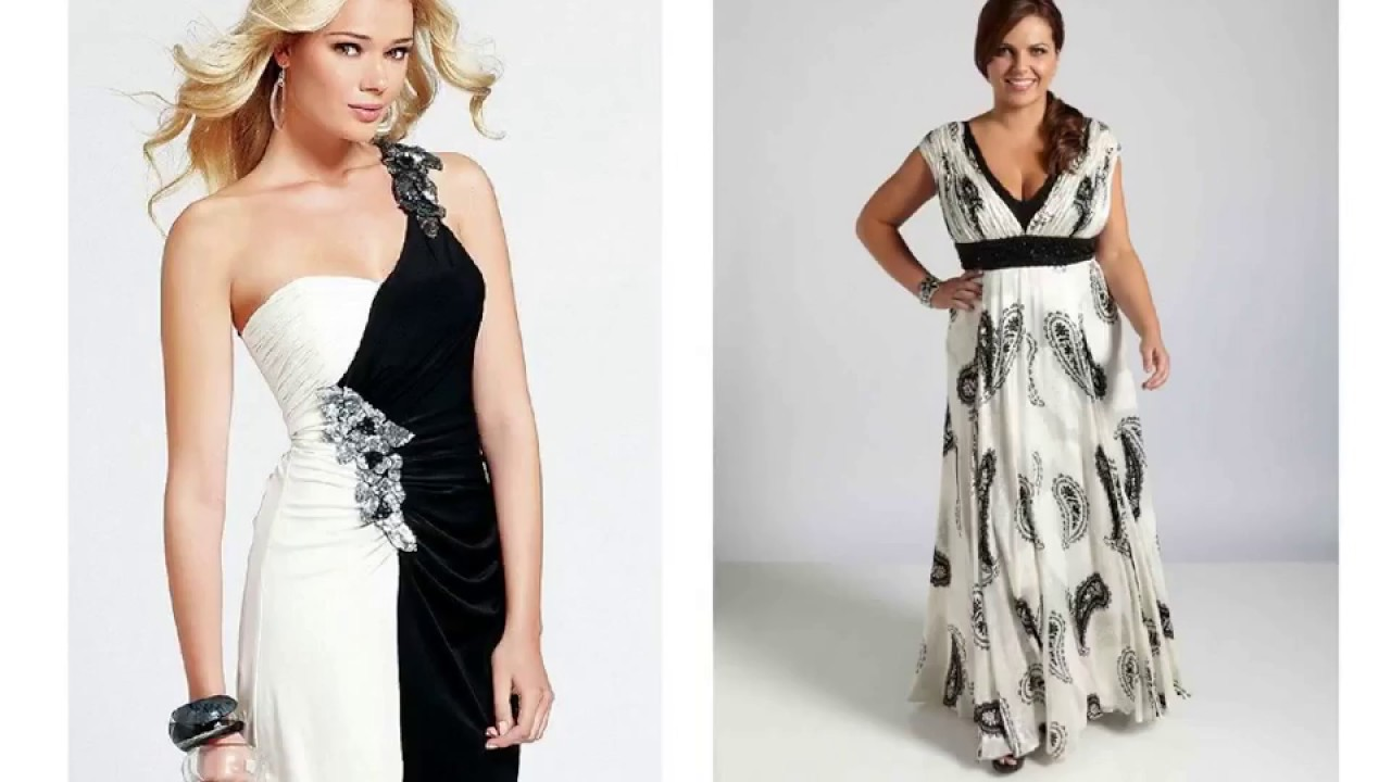 Black and White Party Dresses Plus Size