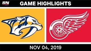 NHL Highlights   Predators vs. Red Wings – Nov. 4, 2019