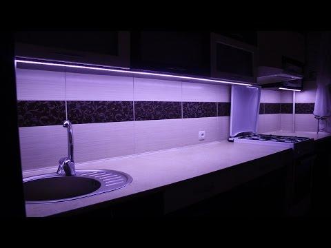 Монтаж светодиодной ленты, для освещения рабочей поверхности на кухне.