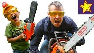 Детская Бензопила против настоящей бензопилы Kids Chainsaw vs Real Chainsaw
