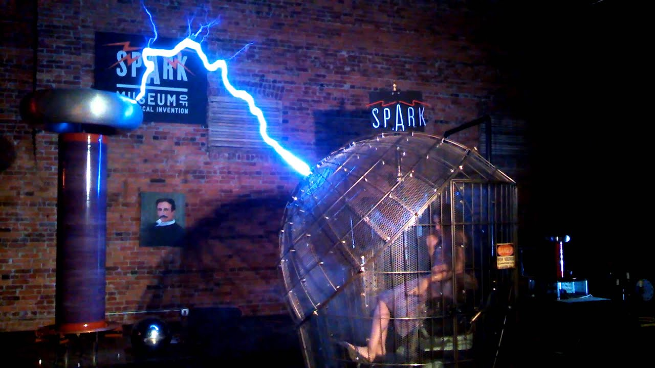 tesla coil faraday cage youtube
