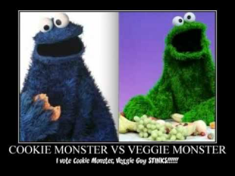 cookie monster vs veggie monster - YouTube