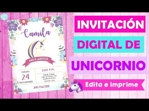Invitacion Unicornio Digital Editable Fácil Y Económico