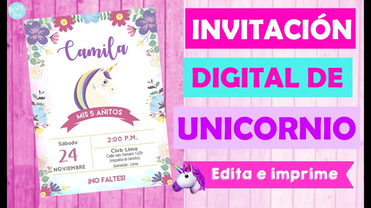 Invitacion Unicornio Digital Editable Fácil Y Económico Party Pop Diy Tarjeta Unicornio