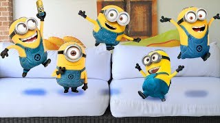 Five Little Minions Jumping on the Bed Five Little Babies Jumping on the Bed Kids Songs