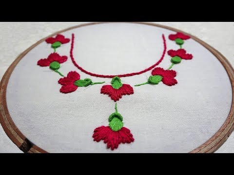 Hand Embroidery : Neckline Embroidery : Brazilian Embroidery: Bullion Lazy Daisy Stitch