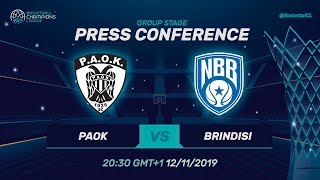 PAOK v Happy Casa Brindisi - Press Conference - Basketball Champions League 2019-20