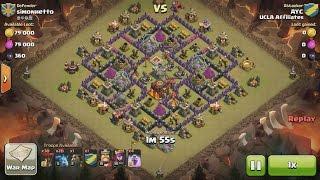 Clash of Clans TH9 vs TH10 Lava Hound, Balloon & Minion (Lavaloonion) Clan War 3 Star Attack