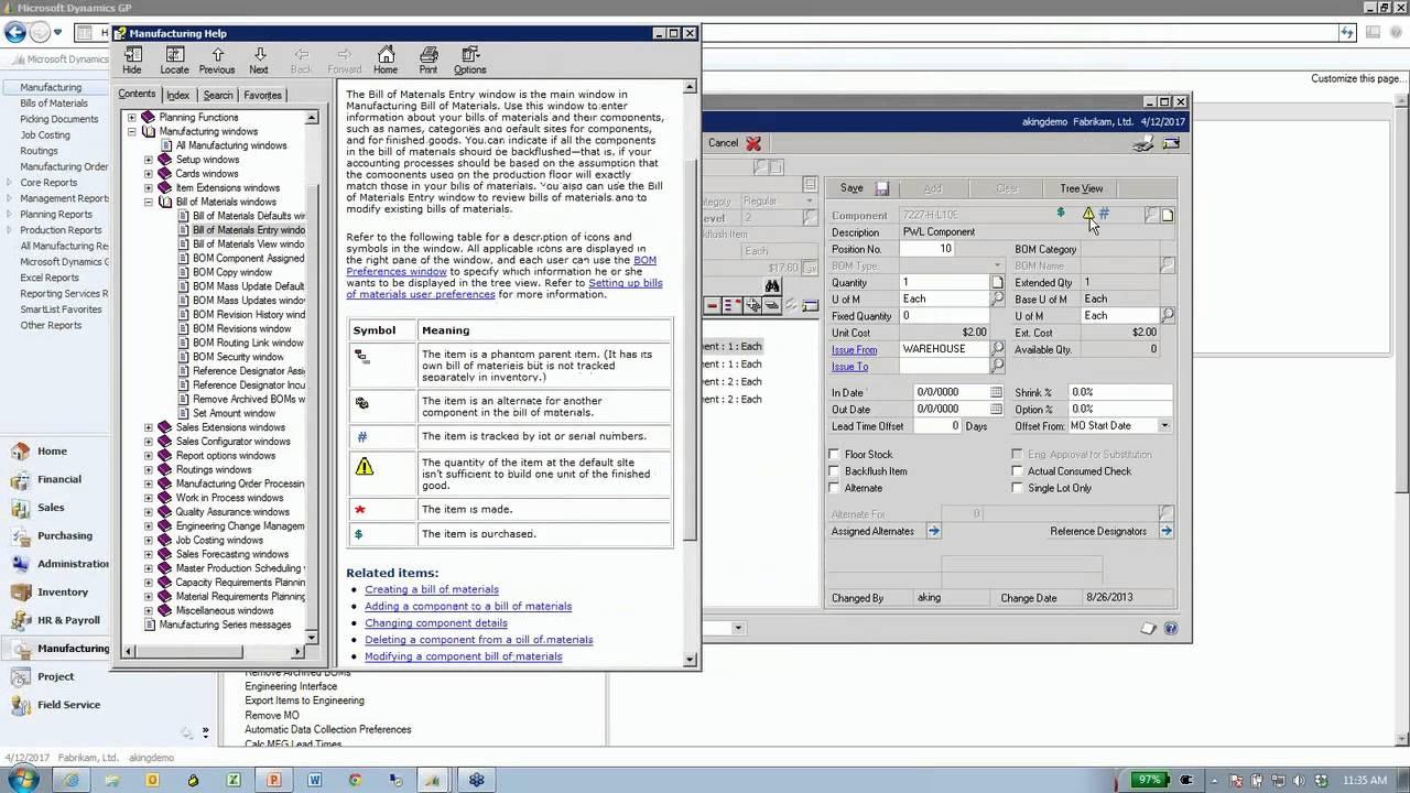 microsoft dynamics gp manufacturing series part 1 basic concepts rh youtube com great plains accounting software manual Microsoft Dynamics GP Screen Shot