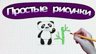 Простые рисунки #308 Мишка Панда и бамбук