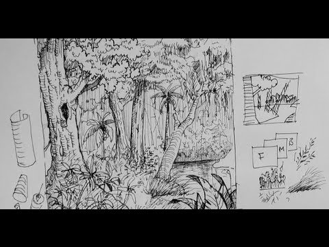 Pen ink drawing tutorials how to draw a forest scene for Forest scene drawing