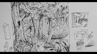 Pen & Ink Drawing Tutorials | How to draw a forest scene or background