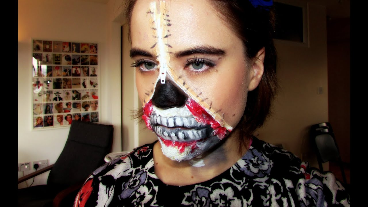 sc 1 st  YouTube & ZIPPER FACE HALLOWEEN MAKE UP TUTORIAL - YouTube