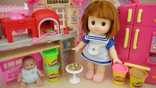 Baby doll pizza and Kitchen toys with Play Doh cooking toys