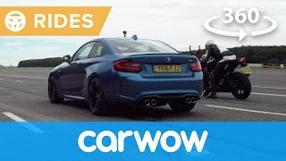 Car vs motorcycle - which is faster? 360 drag race | Passenger Rides