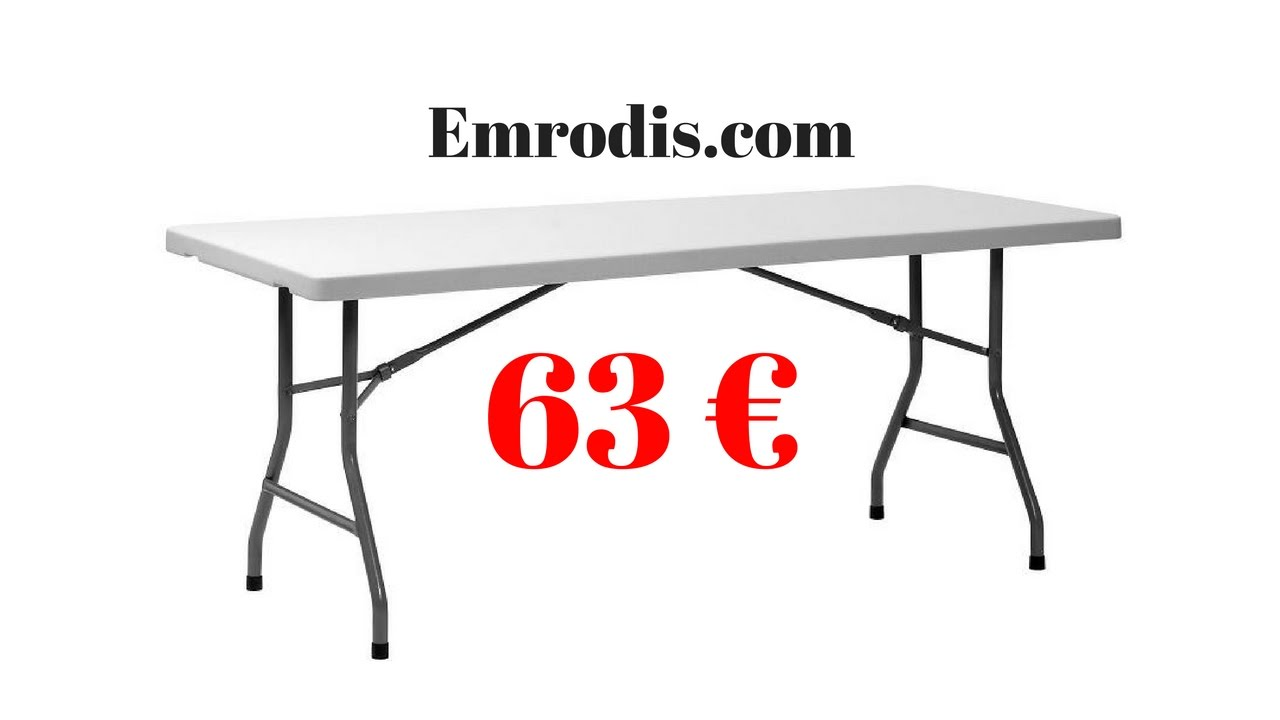 table pliante en polypropyl ne 183 cm youtube. Black Bedroom Furniture Sets. Home Design Ideas