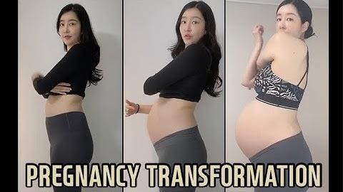 임신 주수별 배 크기 변화 | 임신초기부터 산후까지 | pregnancy transformation | week by week progress