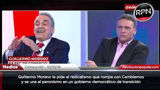 Moreno le pide a los radicales que rompan con Macri y se unan al peronismo en un gob. de transición