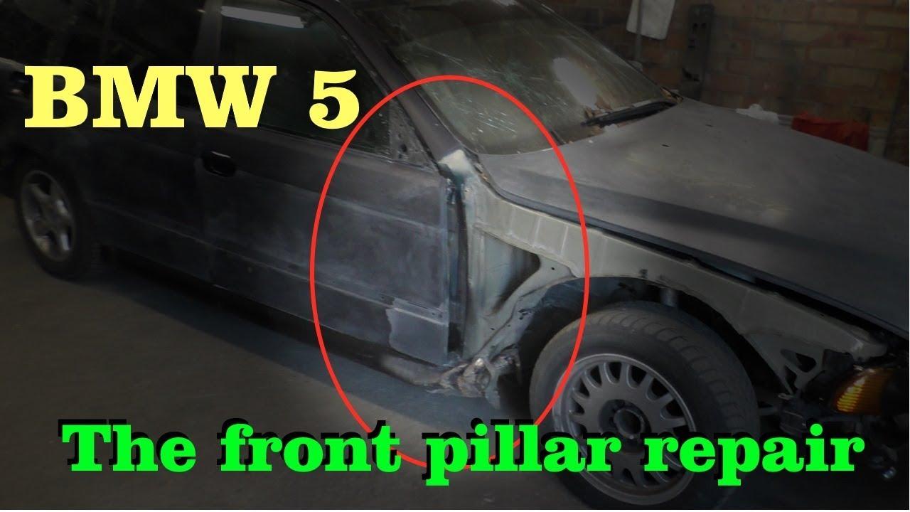 BMW 5. The front pillar repair. Ремонт передней стойки.
