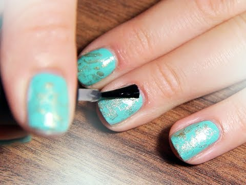 Turquoise With Gold Stone Nails Fashionista Tutorial Youtube