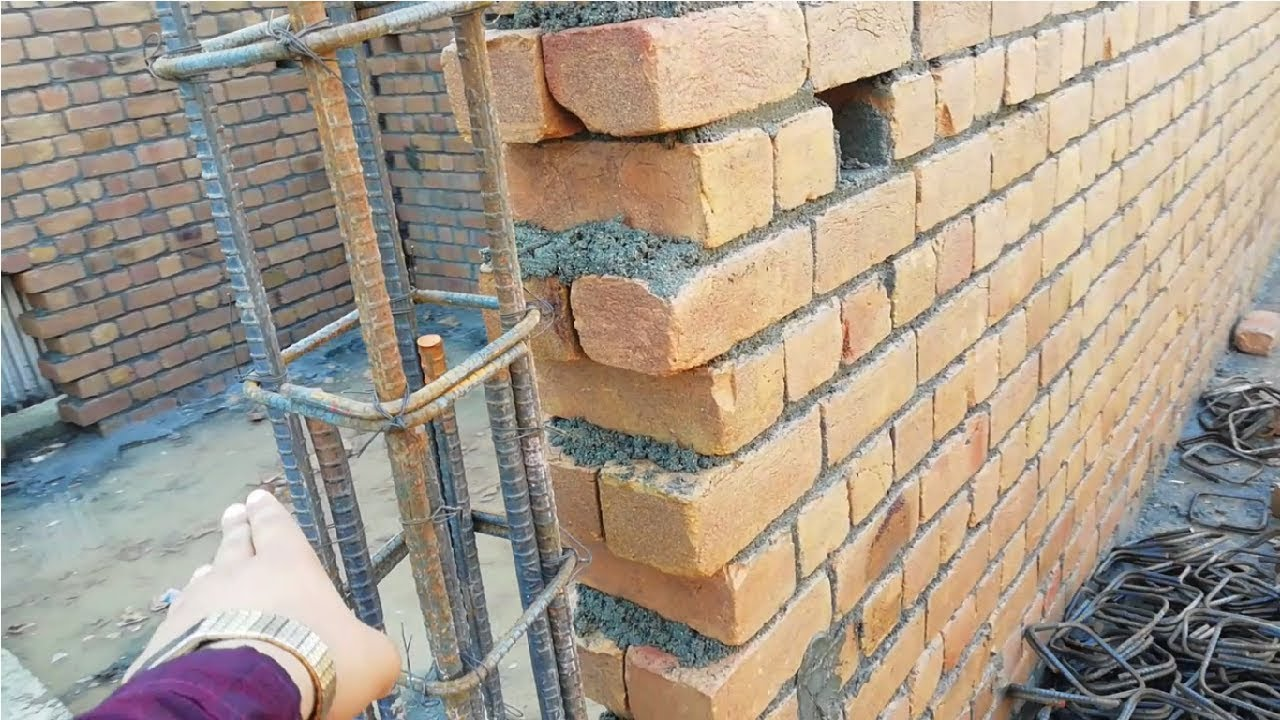 How Connection Was Made Between Column And Brick Wall