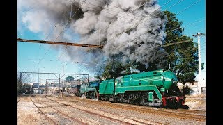"""Australian steam locomotives 3801 & 3830 - """"38s Over The Mountains"""" - July 2000"""