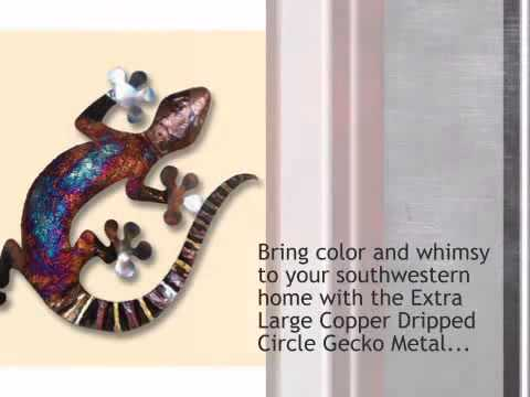 Copper Dripped Circle Gecko Metal Wall Art - Extra Large - lonestarwesterndecor.com