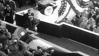 Launching and christening of atomic submarine Nautilus by Mrs Dwight Eisenhower i...HD Stock Footage