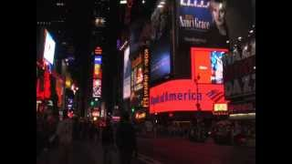 Times Square at Night Neon Lights Shopping and Attractions Panorama View Manhattan New York City NYC