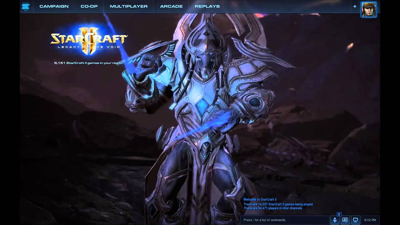 starcraft ii legacy of the void artanis main menu youtube