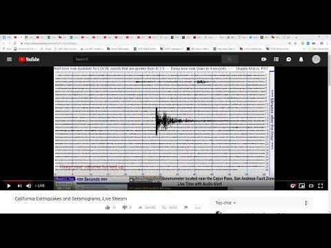 Cajon Pass Seismometer Or 3 Helicorders, Live Stream (near San Andreas FZ) - Southern Calif Segment
